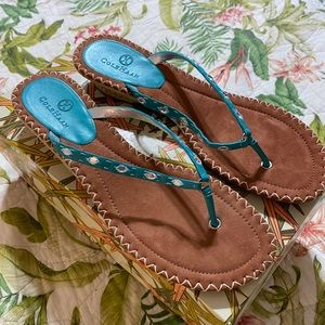 Vintage Cole Haan Dava Thong Teal Sandal New